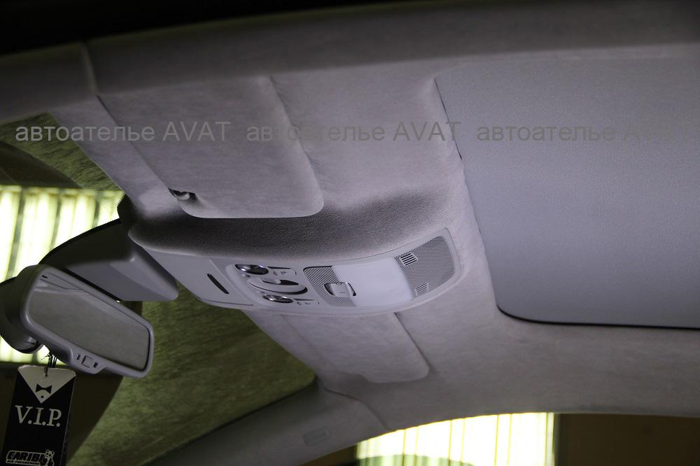 Перетяжка алькантарой потолка Audi