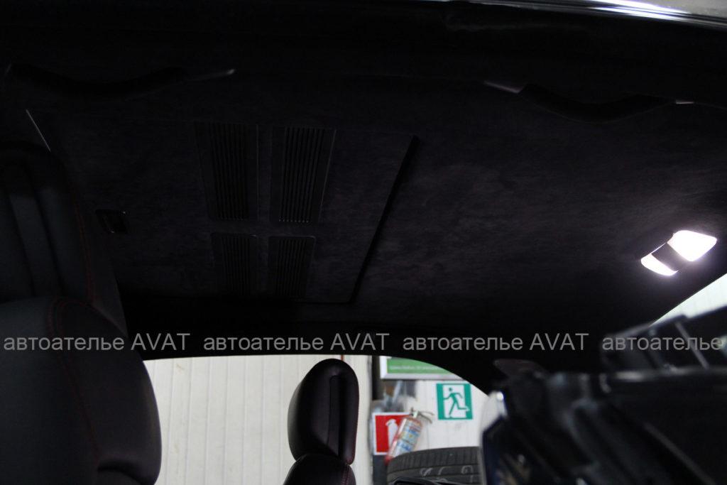 Перетяжка потолка в Mercedes S-класса алькантарой