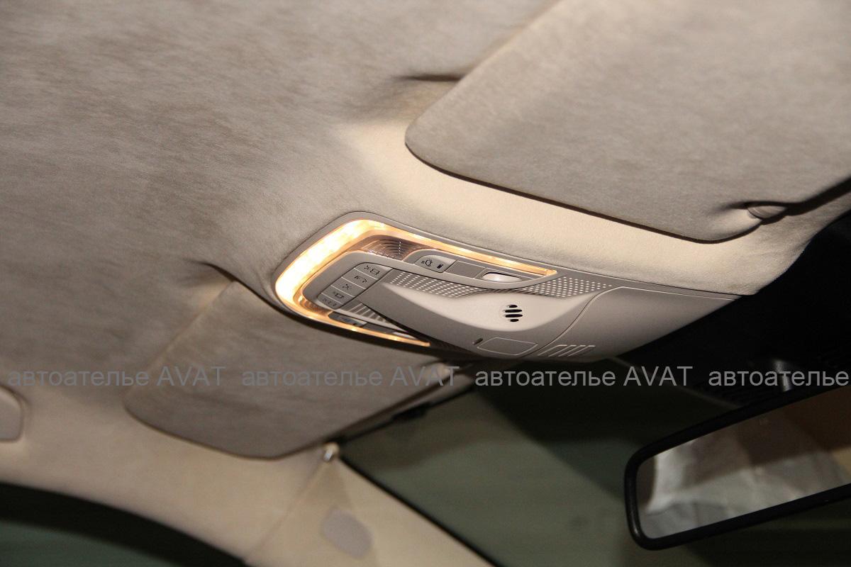 Перетяжка потолка алькантарой Mercedes Benz V-класса