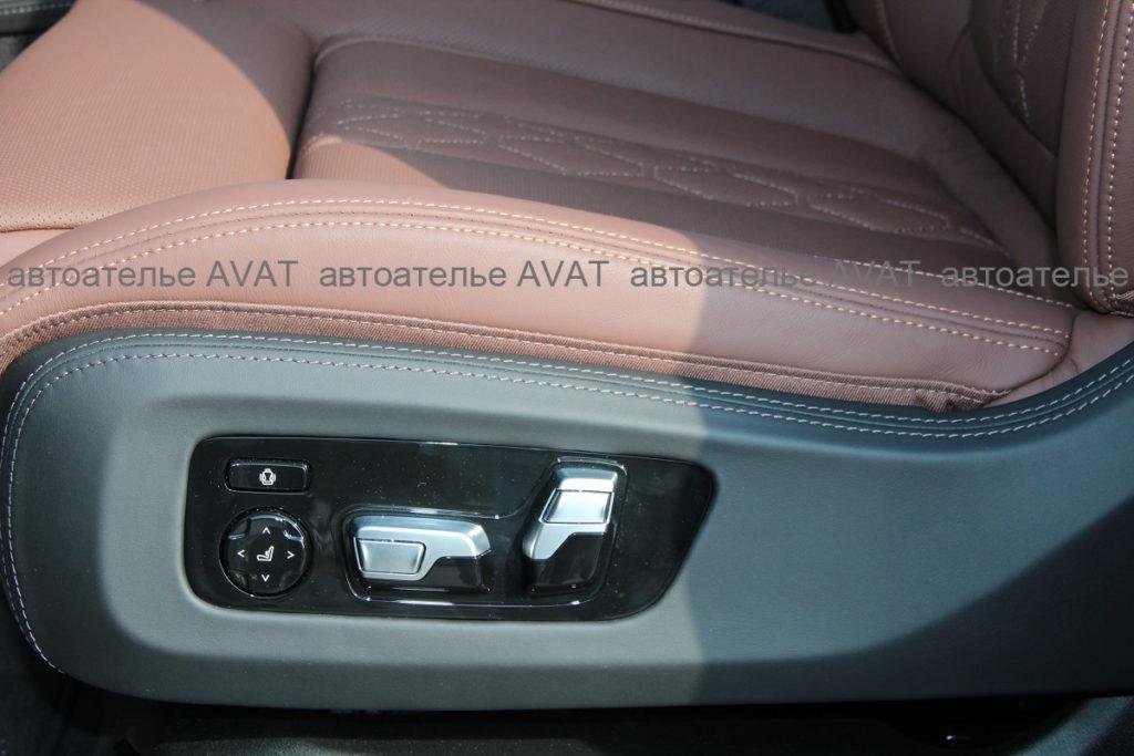 перетяжка натуральной кожей наппа боковой накладки сидения BMW X5 G05
