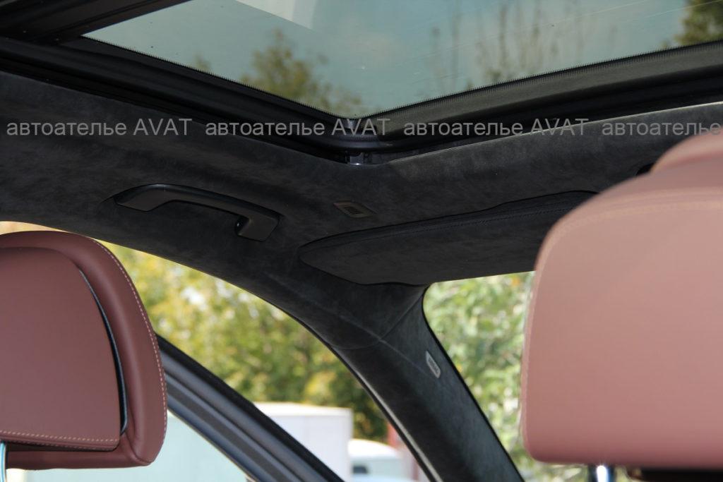 перетяжка потолка алькантарой BMW X5 в кузове G05