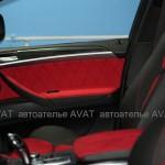 Перетяжка салона BMW X6 кожей и алькантарой с отстрочкой ромбом