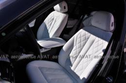 перетяжка салона BMW X5 белой кожей наппа