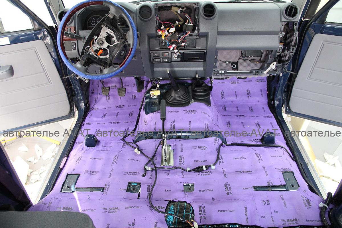 шумоизоляция пола в Toyota LC 78