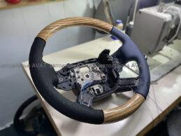 перетяжка руля range rover vogue с деревянными вставками