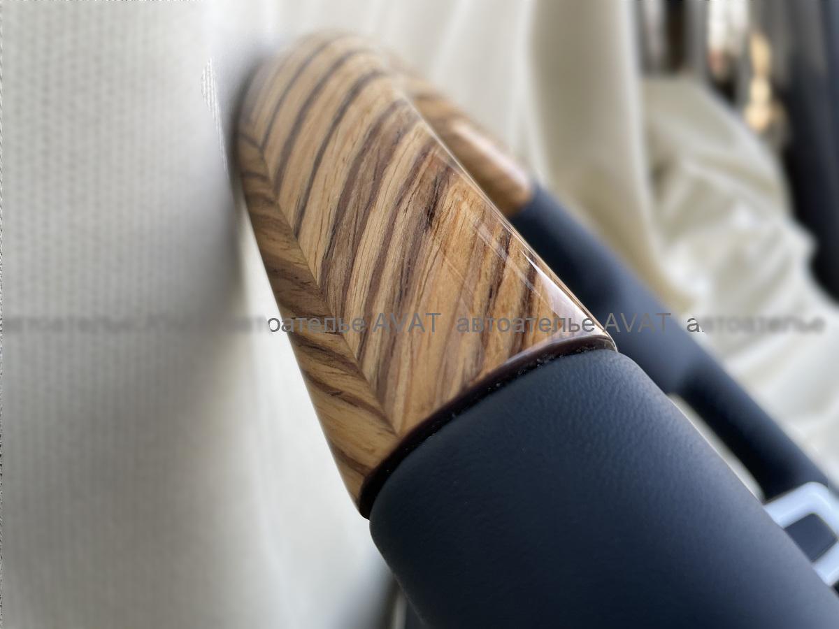 перетяжка руля натуральной кожей с деревянной вставкой