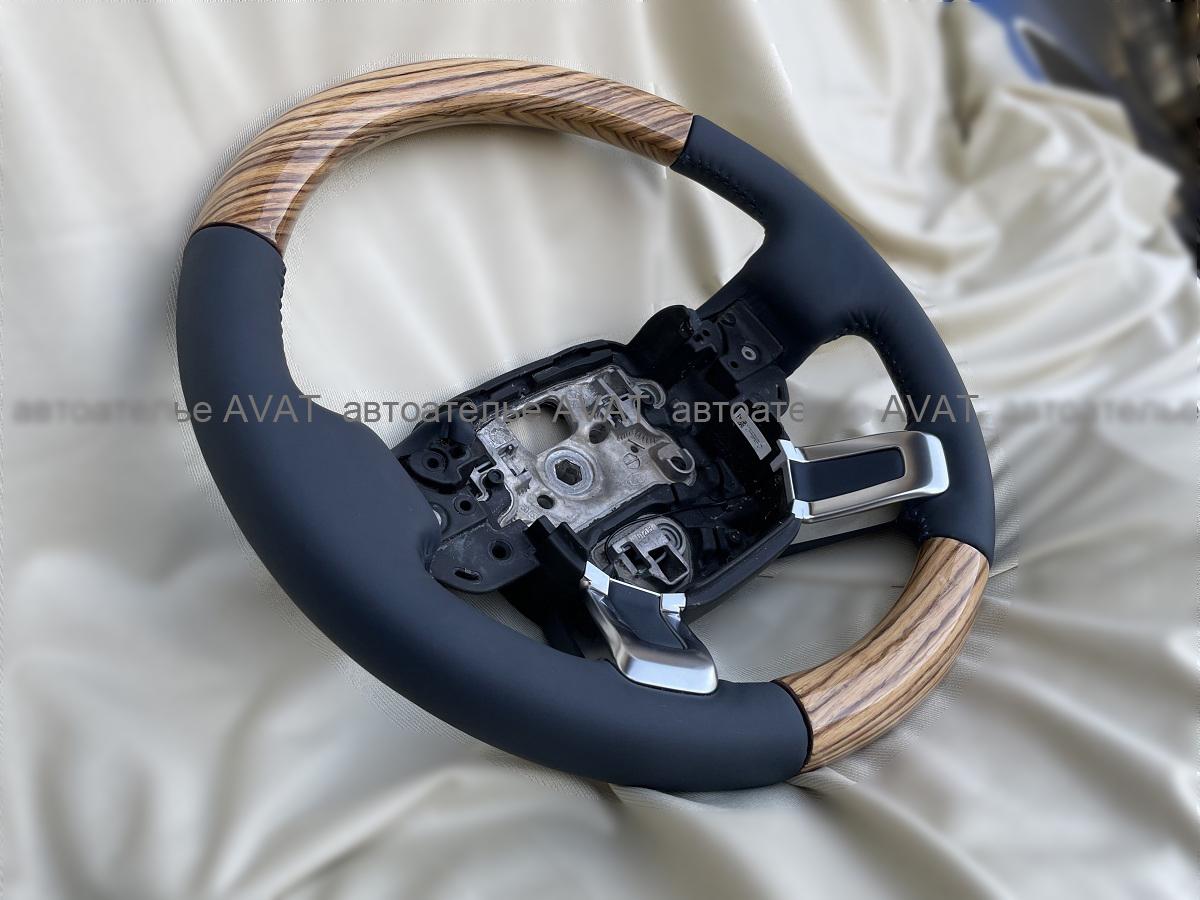 перетяжка руля range rover vogue  натуральной кожей с изготовлением вставок из дерева